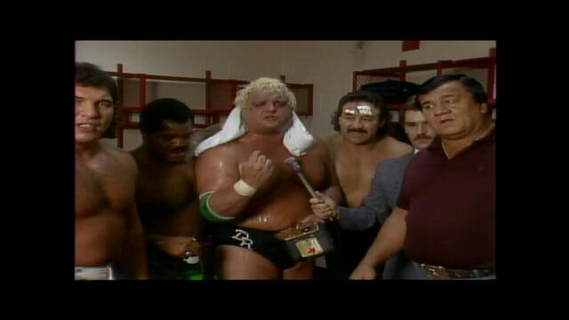 NWA: Dusty Rhodes New NWA World Heavyweight Champion backstage 1985