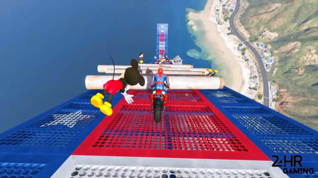 GTA 5 Spiderman vs Mickey Mouse Crazy Moto Parkour Jumps/Fails (Euphoria Physics Funny Moments)